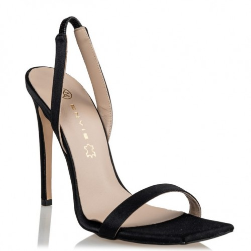 Envie Shoes E02-13175-34 SATIN STILETTO SANDALS Black