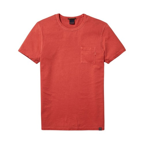 SCOTCH&SODA Ams Blauw regular fit tee in autumn colours with wash effect 137751-1301