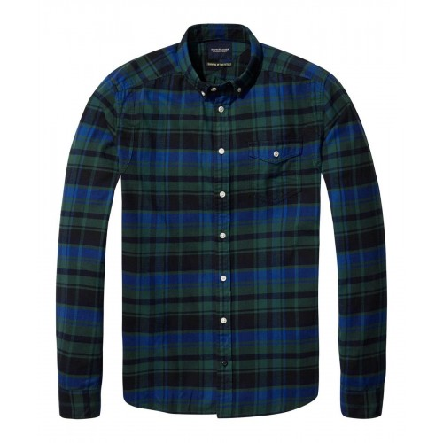SCOTCH&SODA Lightweight brushed flannel shirt with workwear 137701.19